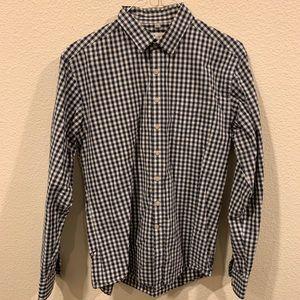 Frank & Oak navy white checkered button down shirt